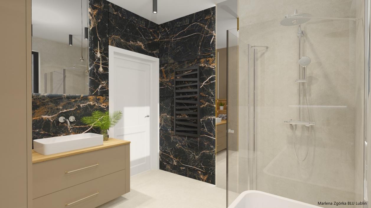 Projekt łazienki z wanną i prysznicem BLU Lublin