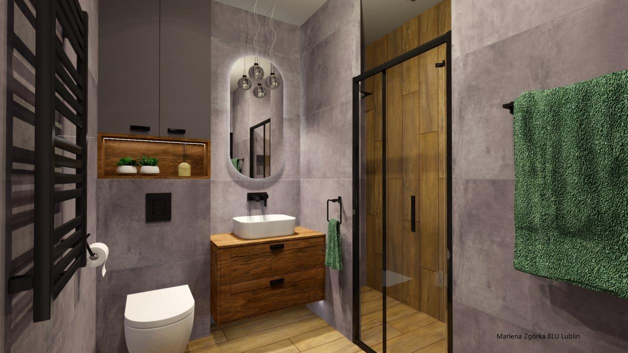 Klimatyczna łazienka w ciemnych szarościach i drewnie BLU Lublin