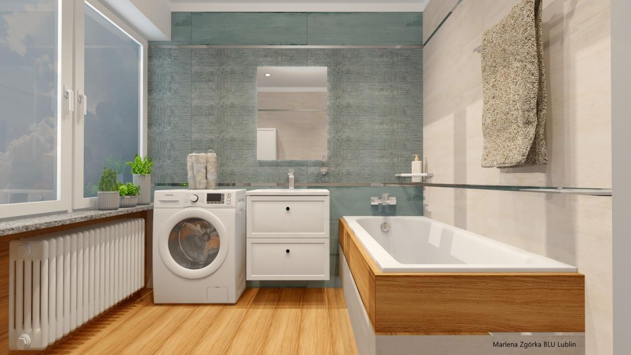 Projekt przestronnej łazienki z oknem i płytkami Azario Aspiro BLU Lublin