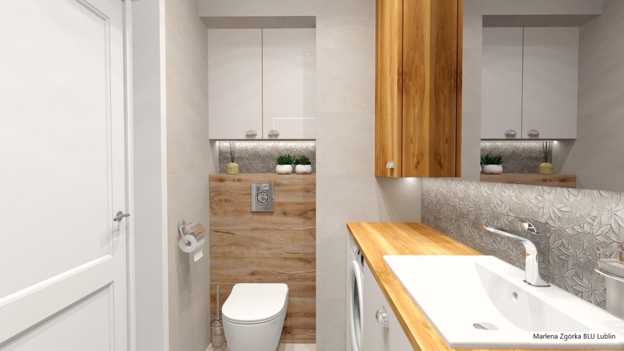 Projekt niewielkiej łazienki z płytkami Azario Intro, Bataro, Sabbia BLU Lublin