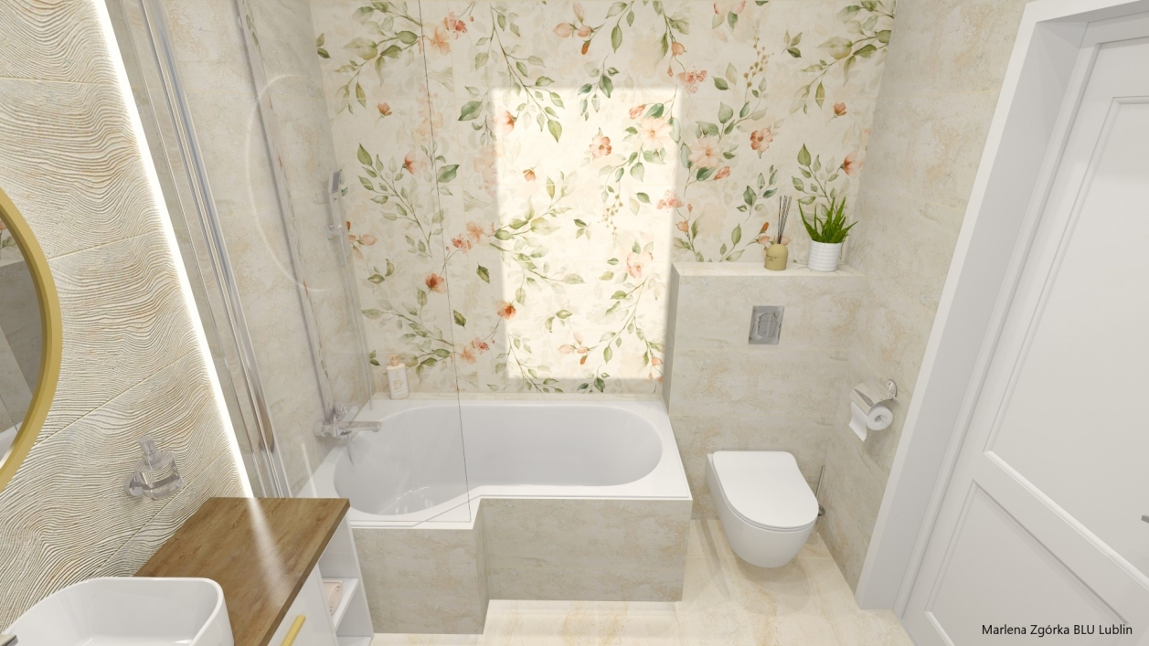 Projekt delikatnej łazienki z folrystycznymi wzorami z kolekcji Azario Pravia BLU Lublin