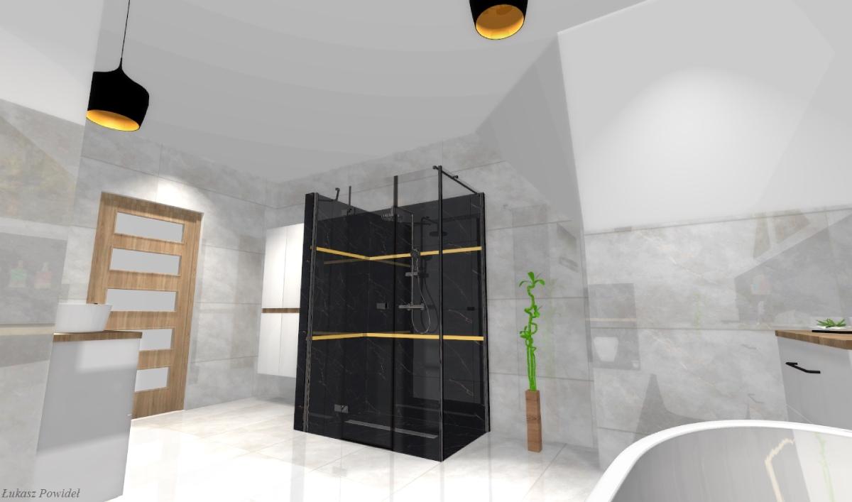Wyrazista kabina prysznicowa w stylowej łazience BLU Salony Łazienek Lębork