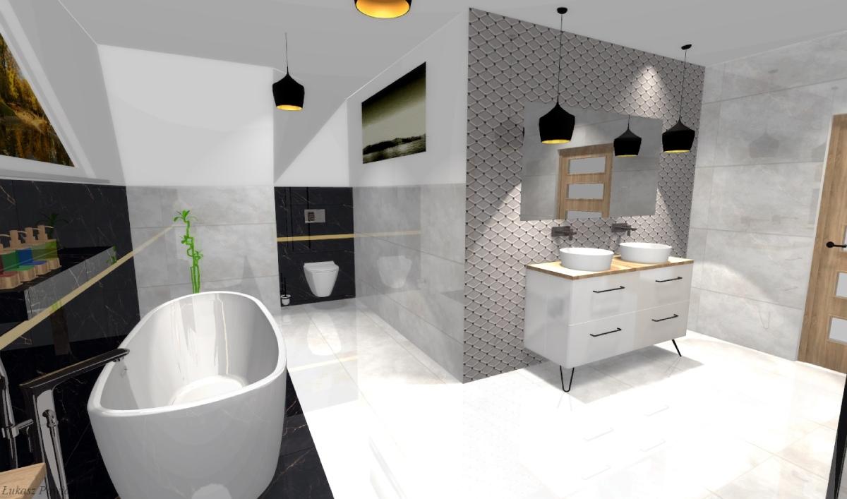 Elegancka łazienka w stonowanych kolorach BLU Salon Łazienek Lębork