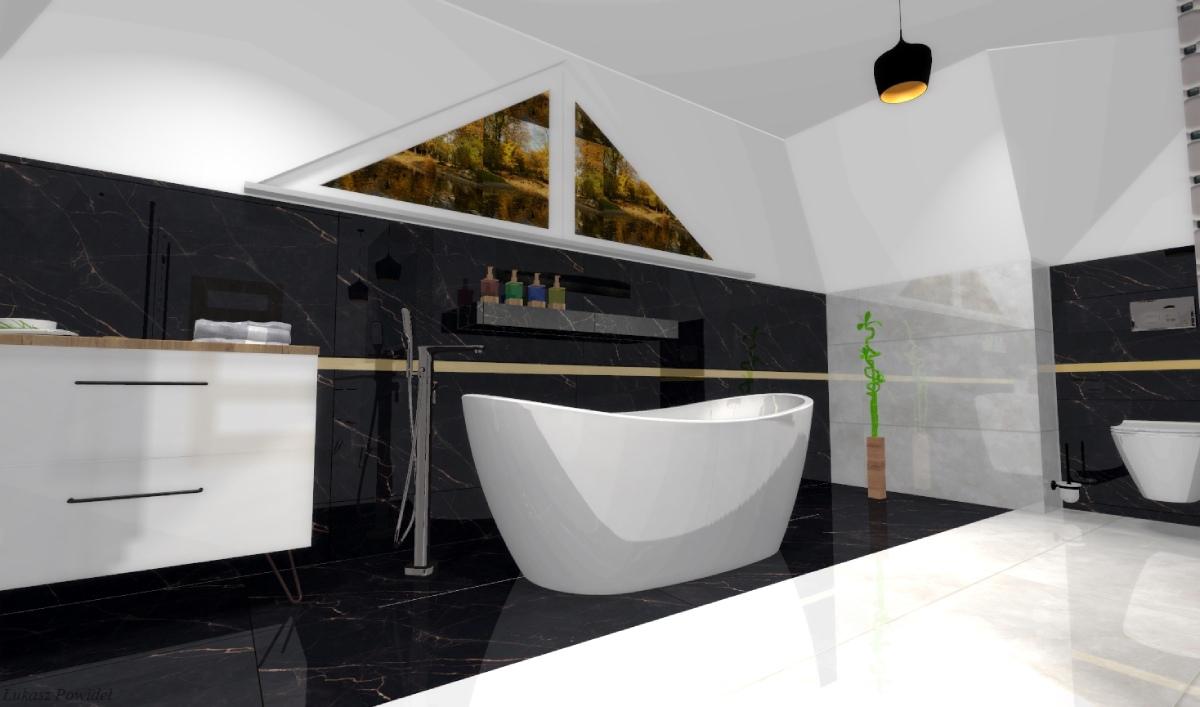 Projekt łazienki z wygodną wanną wolnostojącą BLU Salon Łazienek Lębork