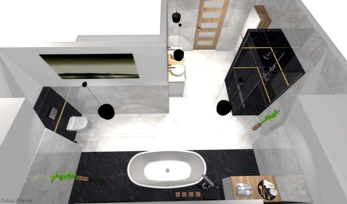 Minimalistyczna aranżacja łazienki w bieli i czerni BLU Salony Łazienek Lębork