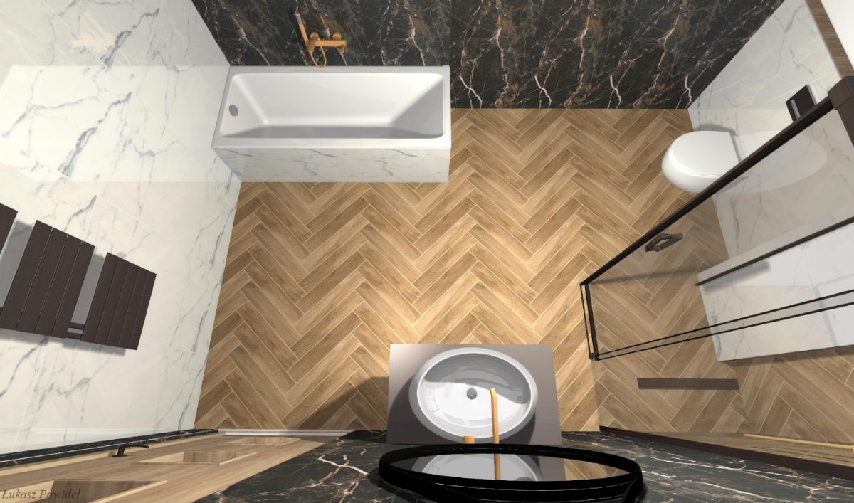 Marmur i drewno w projekcie funkcjonalnej łazienki BLU salon łazienek Lębork