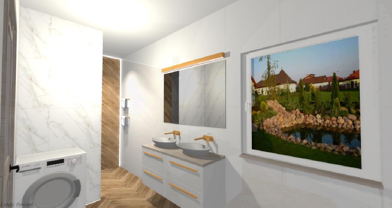 Projekt białej łazienki z elementami drewna BLU Salon Łazienek Lębork