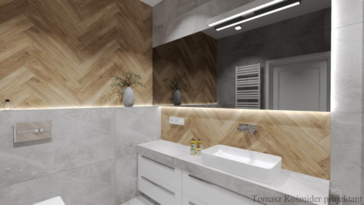 Płytki Cerrad Concrete oraz Tramonto w projekcie nowoczesnej łazienki BLU Lublin