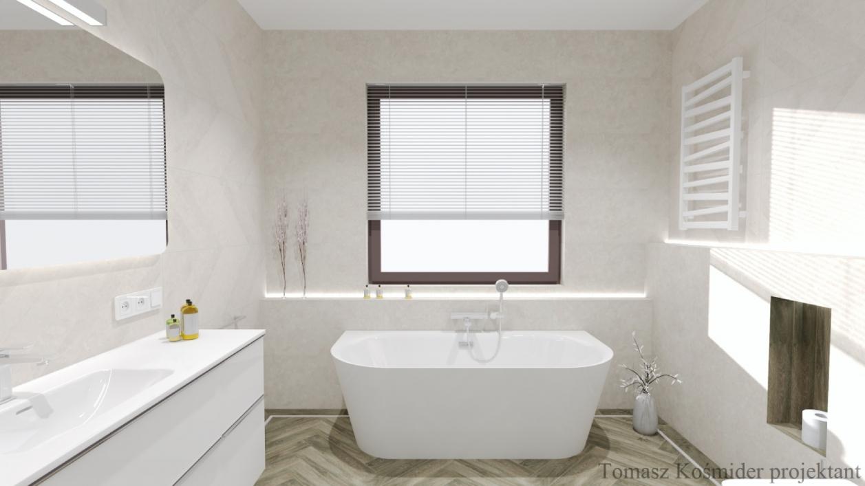 Projekt funkcjonalnej łazienki z wanną i płytkami Cersanit Rest oraz Cerrad Tramonto