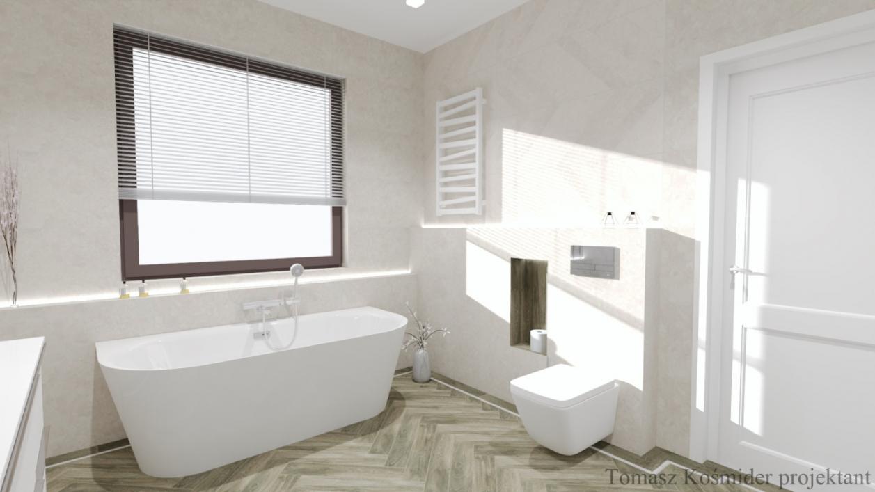 Jasna łazienka z płytkami Cersanit Rest oraz Cerrad Tramonto BLU Lublin