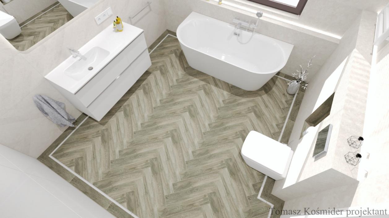 Projekt minimalistycznej łazienki z płytkami Cersanit Rest oraz Cerrad Tramonto BLU Lublin