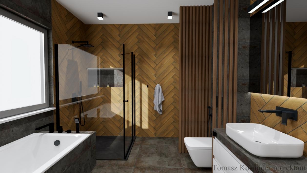 Modna łazienka w szarościach i drewnie z płytkami Azario Space oraz Cerrad Tramonto BLU Lublin