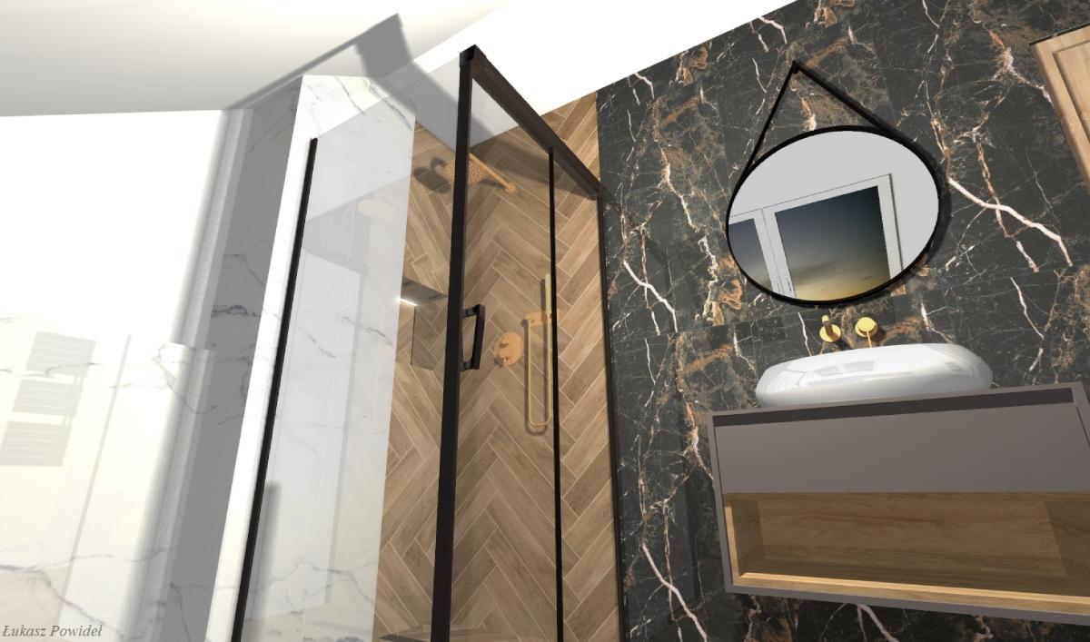 Drewno i ponadczasowy marmur w eleganckiej łazience BLU Salon Łazienek Lębork