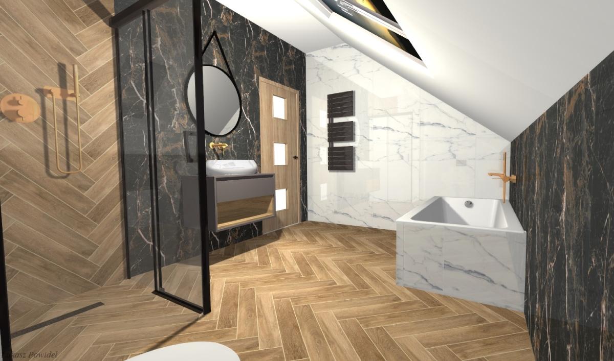 Projekt łazienki na poddaszu BLU Salon Łazienek Lębork