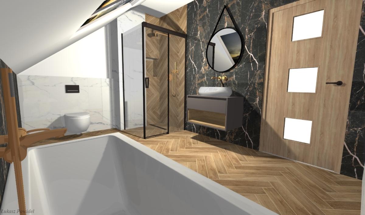 Nowoczesna łazienka z wanną i kabiną prysznicową BLU Salon Łazienek Lębork