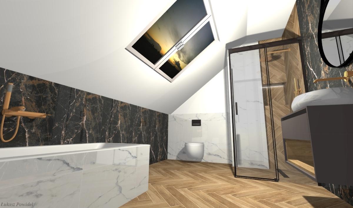 Projekt stylowej łazienki na poddaszu w BLU Salon Łazienek Lębork