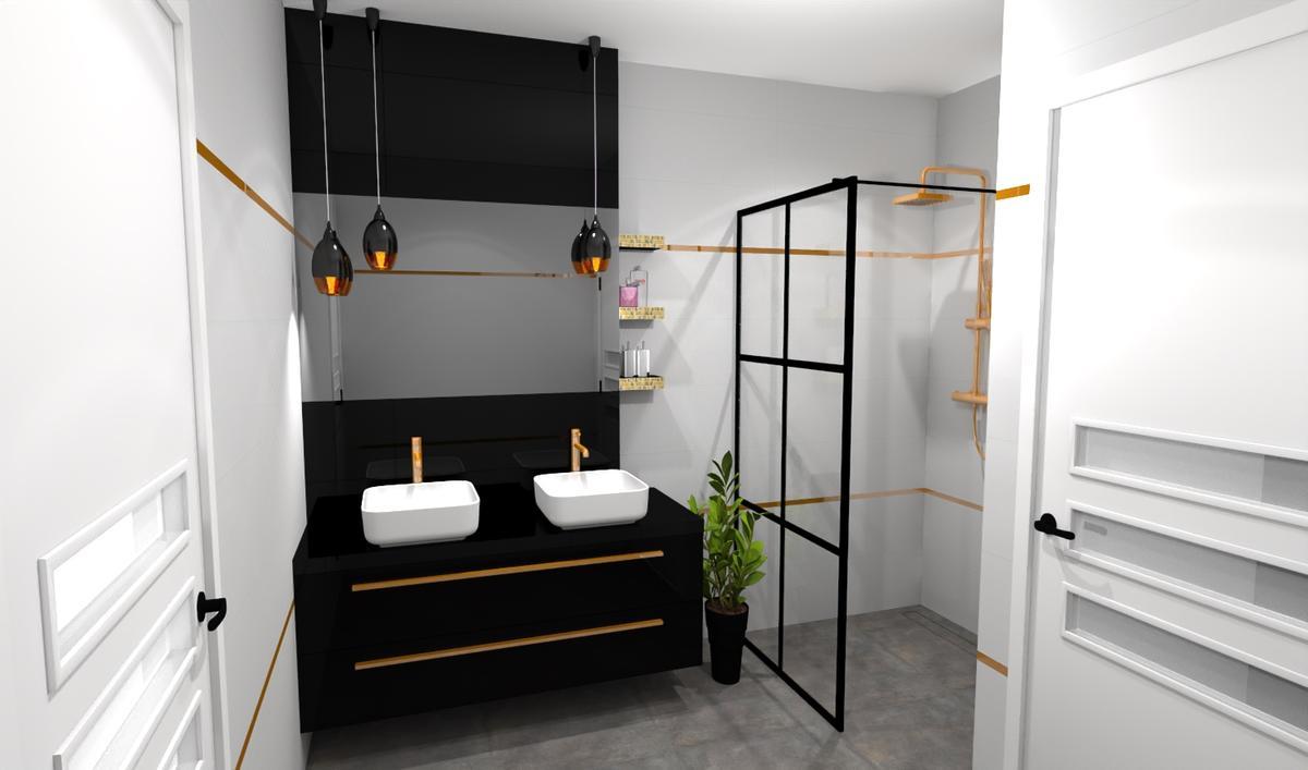 Aranżacja biało - czarnej łazienki - zdjęcie od BLU salon łazienek Bielsko-Biała