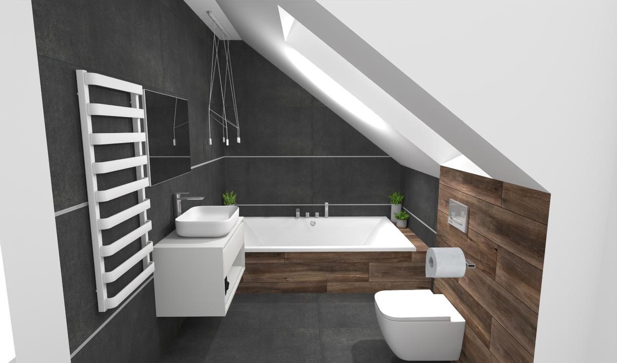 Aranżacja ciemnej łazienki pod skosami - zdjęcie od BLU salon łazienek Bielsko-Biała