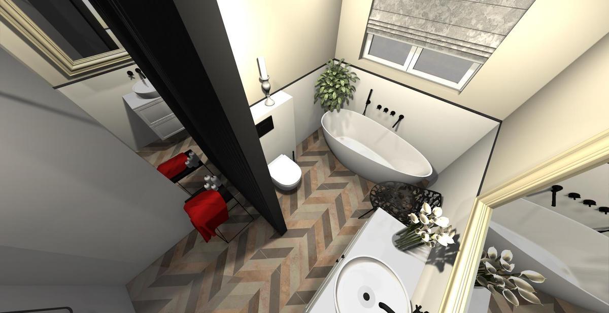 Aranżacja jasnej łazienki z podłogą w jodełkę - zdjęcie od BLU salon łazienek Września