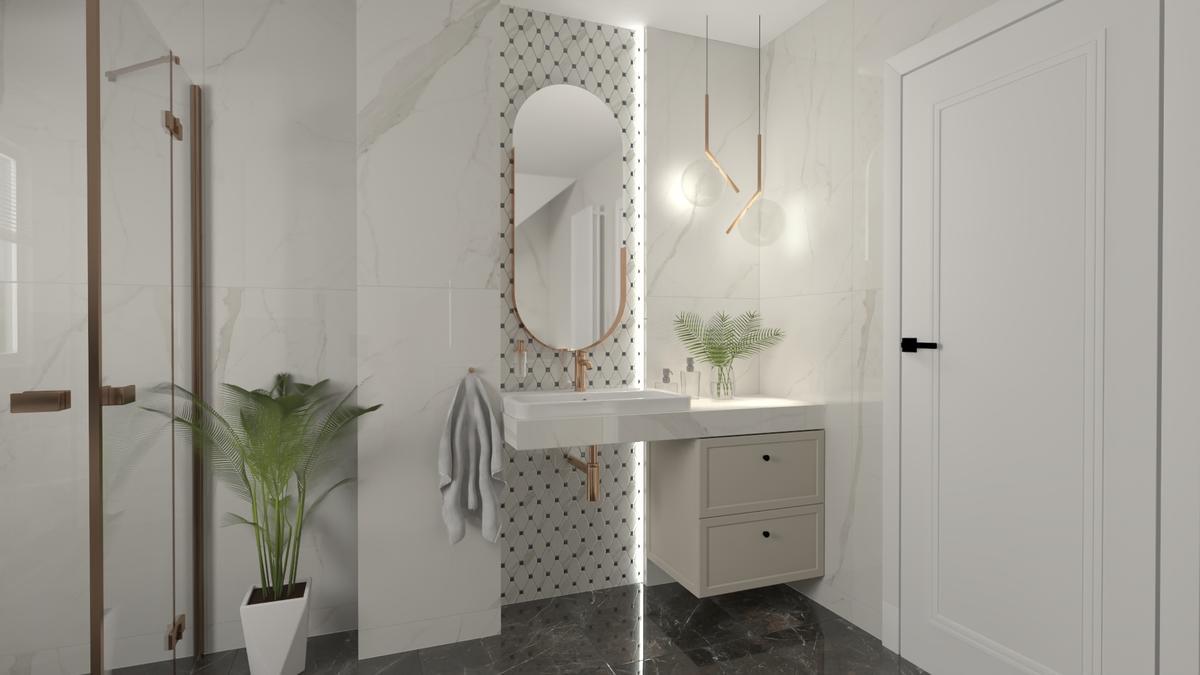 Aranżacja łazienki w marmurowej bieli i czerni - zdjęcie od BLU salon łazienek Suwałki