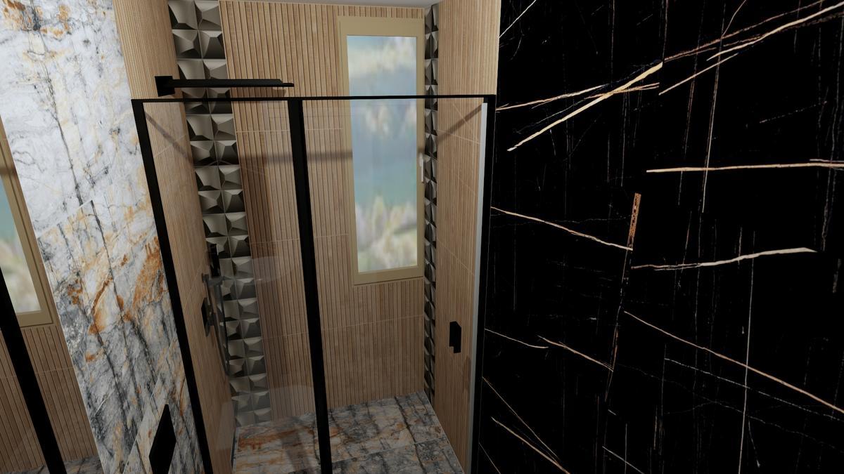 Aranżacja łazienki z połączeniem wielu faktur płytek - zdjęcie od BLU salon łazienek Chełm