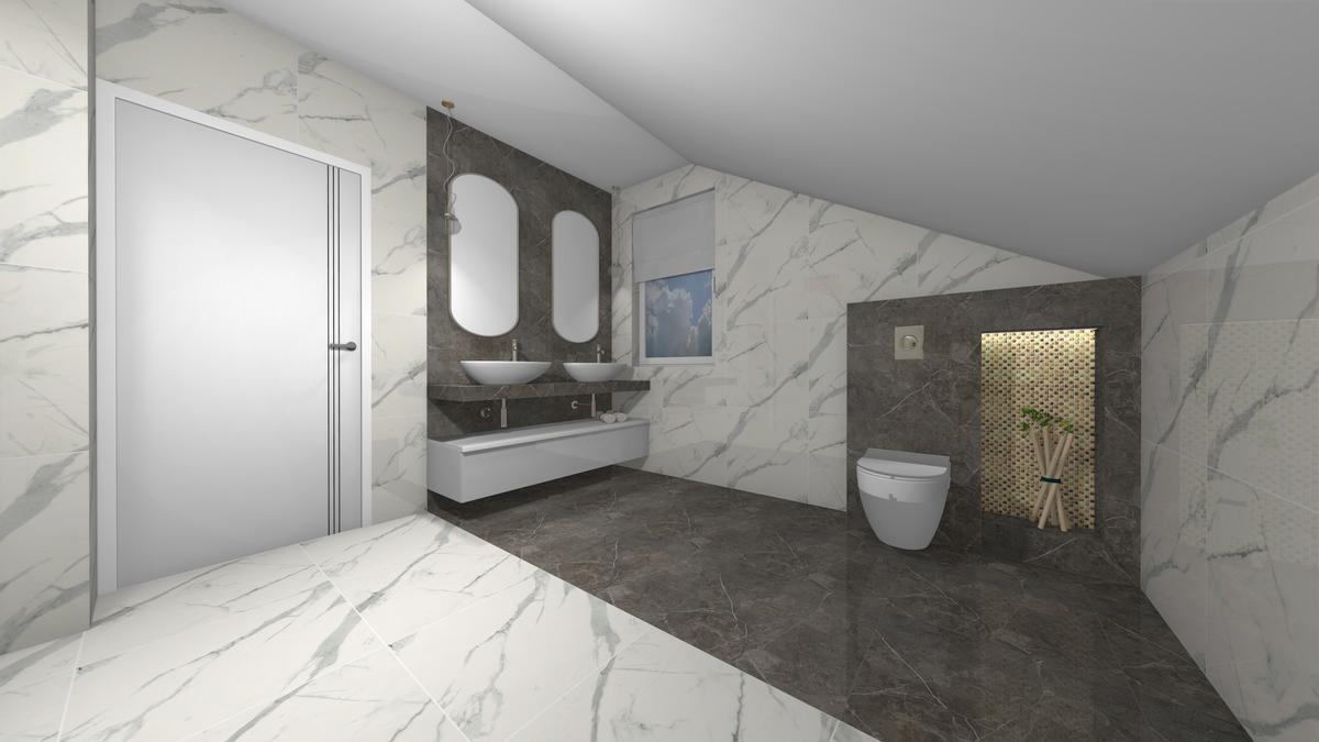 Aranżacja marmurowej łazienki - zdjęcie od BLU salon łazienek Krosno