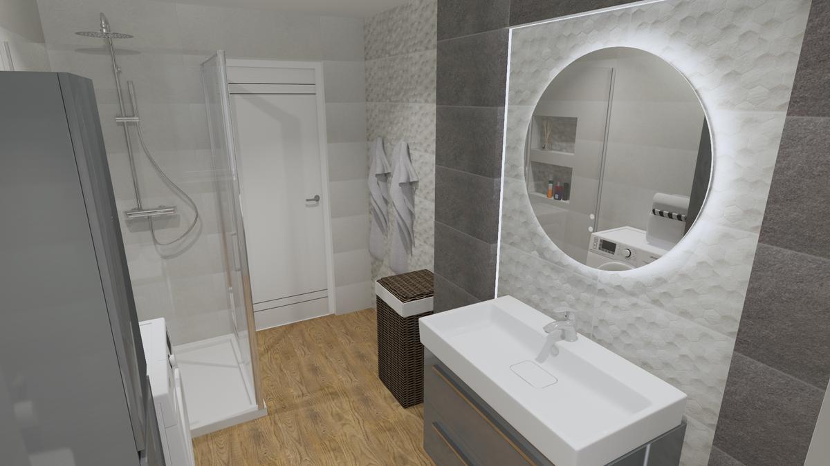 Aranżacja nowoczesnej szarej łazienki - zdjęcie od BLU salon łazienek Chełm