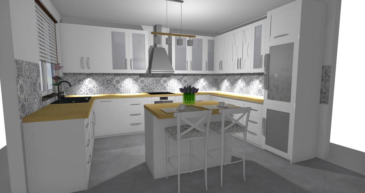 Biała kuchnia z patchworkowym akcentem   - zdjęcie od BLU salon łazienek Lębork
