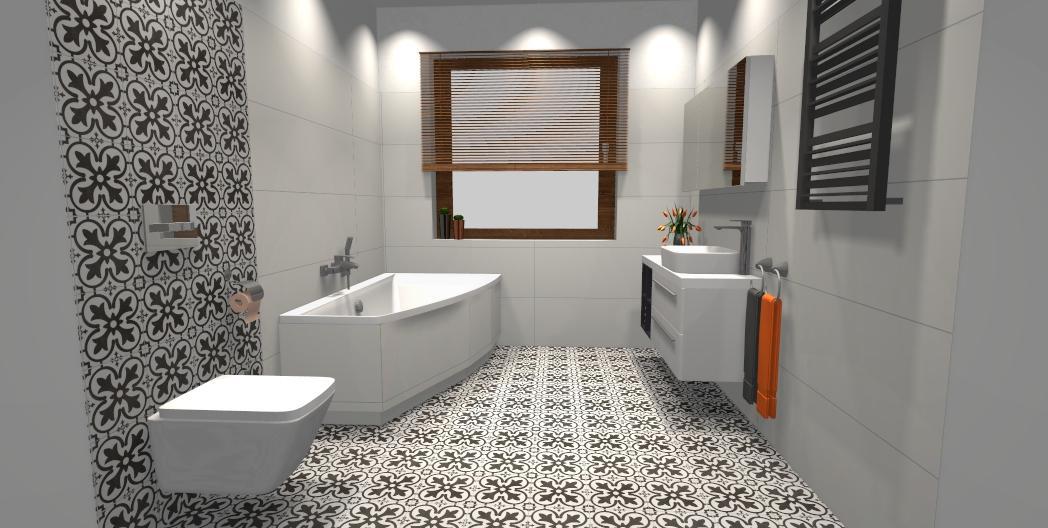 Biała łazienka przełamana płytką patchworkową - zdjęcie od BLU salon łazienek Gniezno