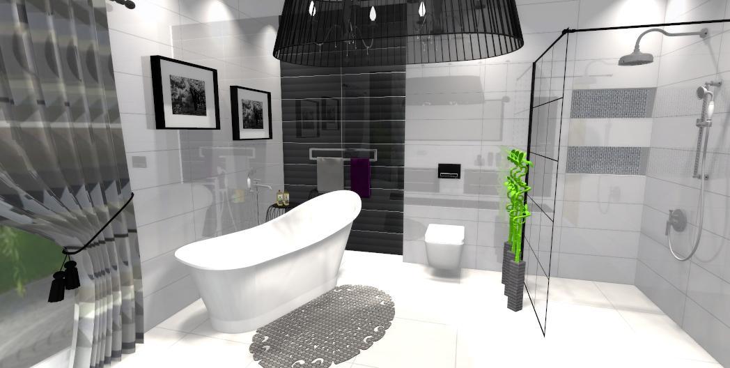 Biała łazienka z czarnym akcentem - zdjęcie od BLU salon łazienek Gniezno