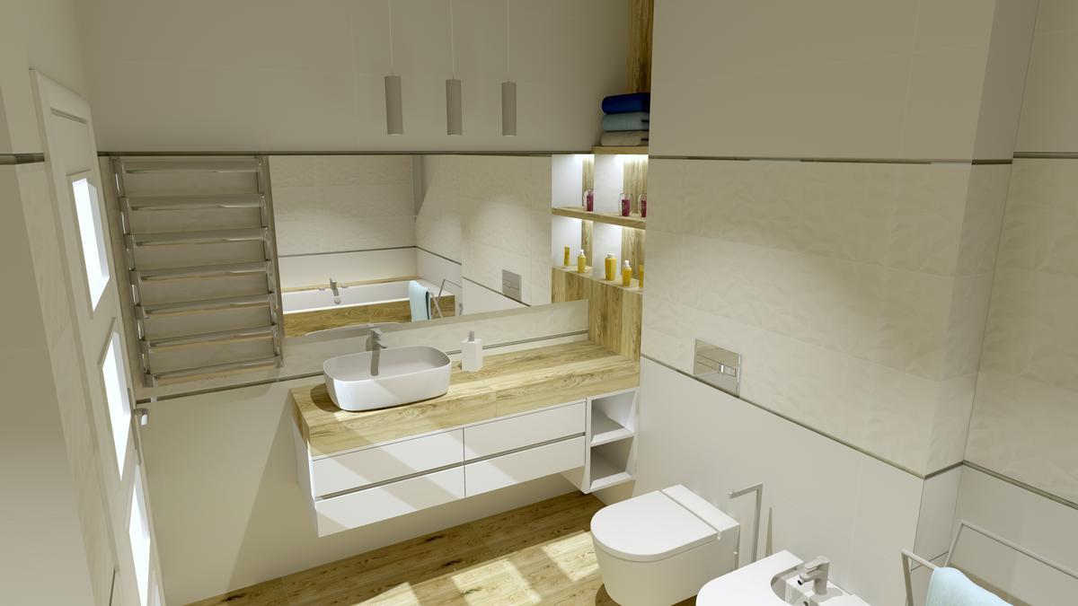 Biała łazienka z dodatkiem drewna - zdjęcie od BLU Salon Łazienek Tarnobrzeg