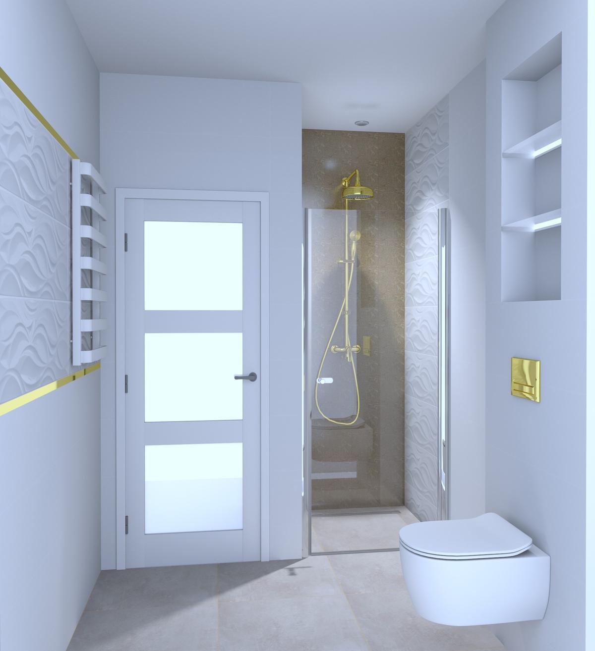 Biała łazienka z dodatkiem złota - zdjęcie od BLU Salon Łazienek Tarnobrzeg
