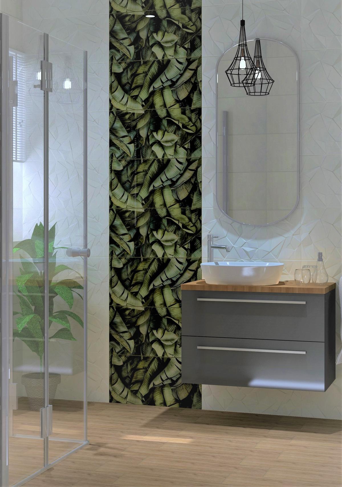 Biała łazienka z motywem palm na ścianie - zdjęcie od BLU Salon Łazienek Tarnobrzeg