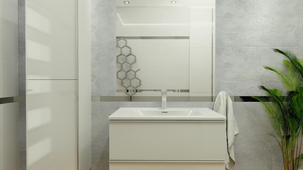 Biała łazienka ze strukturalną płytką i srebrnymi elementami - zdjęcie od BLU salon łazienek Ostrowiec Świętokrzyski