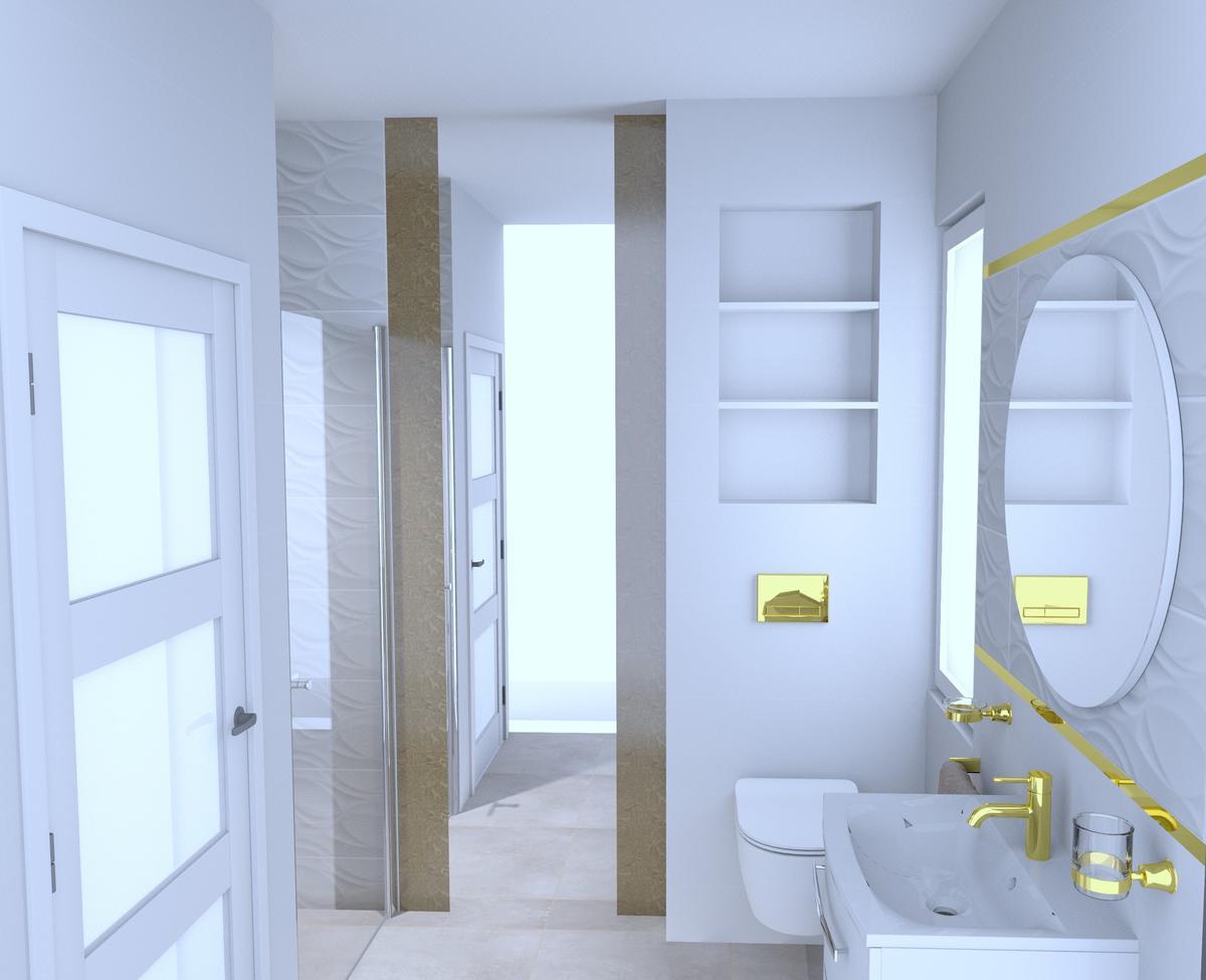 Biała łazienka ze złotem. - zdjęcie od BLU Salon Łazienek Tarnobrzeg