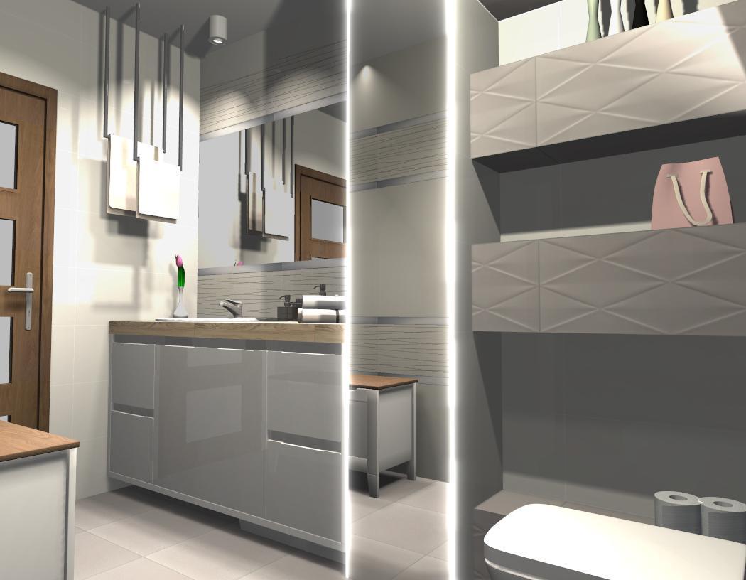 Biało-szara łazienka - Tubądzin Abisso  - zdjęcie od BLU salon łazienek Płońsk