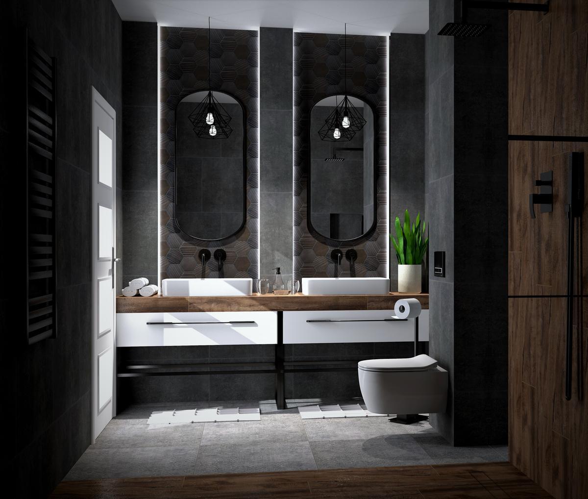 Ciemna łazienka z drewnianymi elementami i białą armaturą - zdjęcie od BLU Salon Łazienek Tarnobrzeg