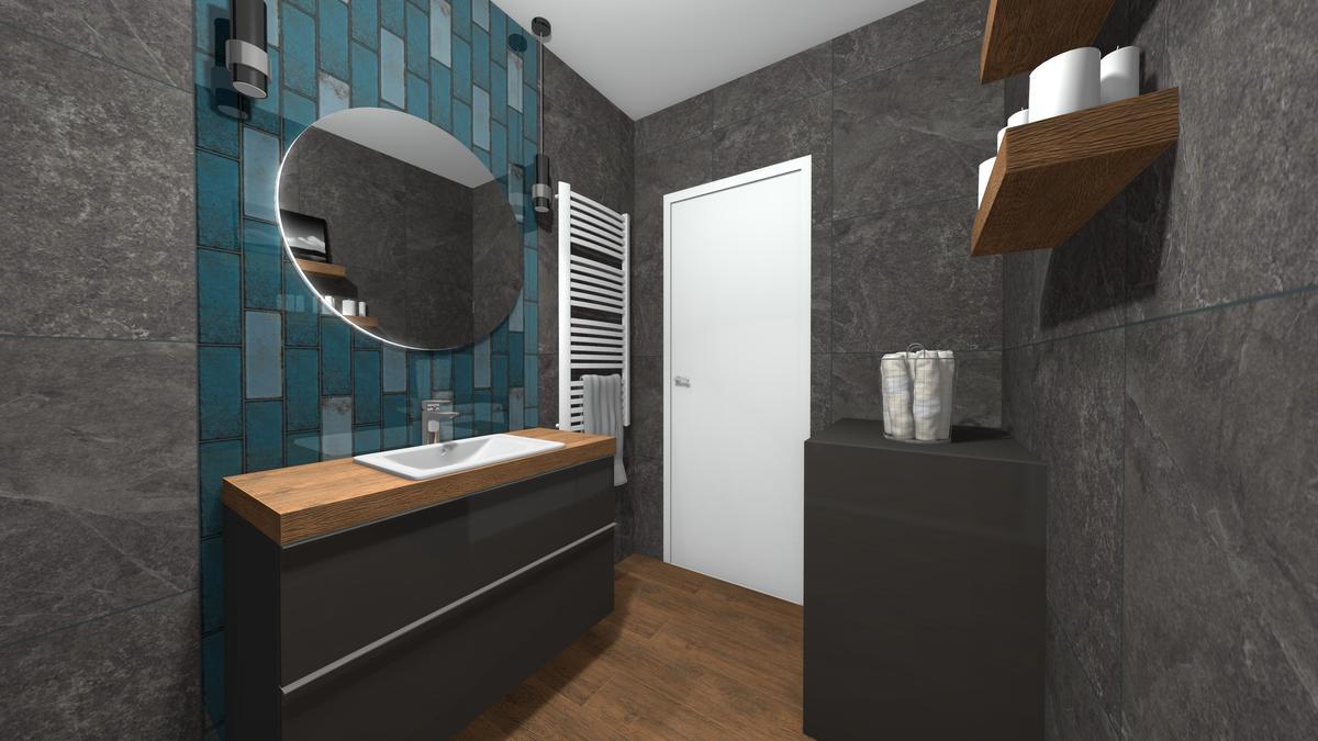 Ciemna łazienka z płytkami dekoracyjnymi - zdjęcie od BLU salon łazienek Krosno