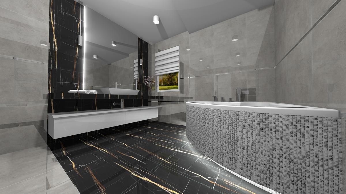 Ciemna łazienka - zdjęcie od BLU salon łazienek Krosno