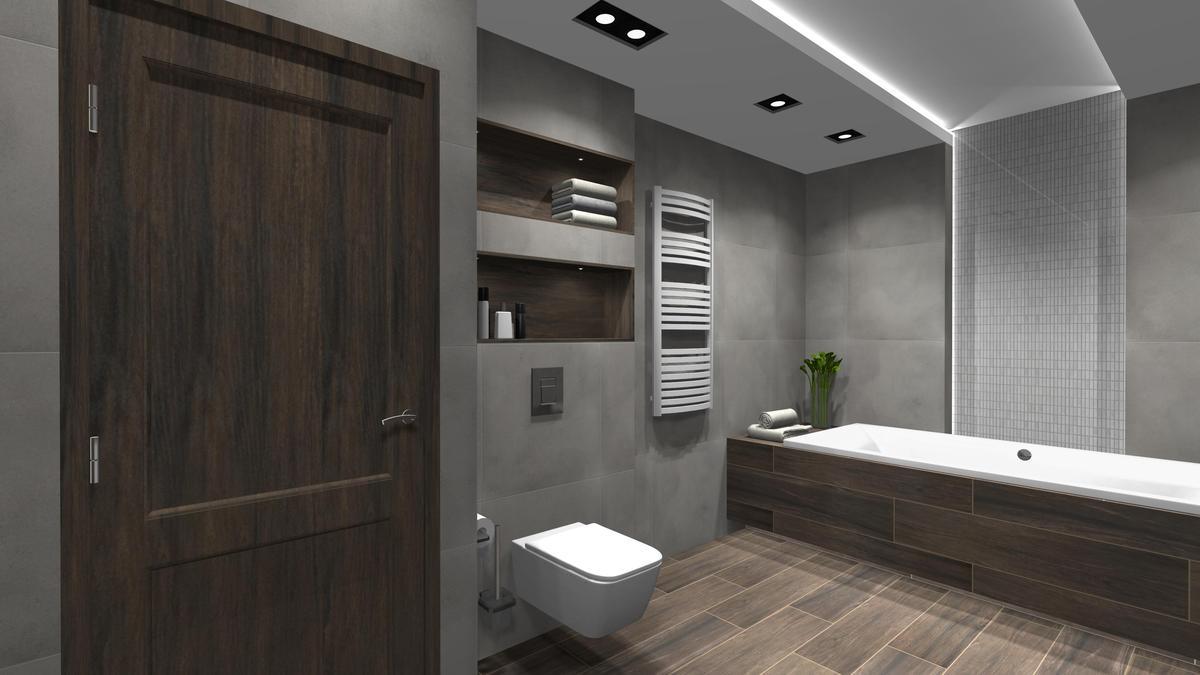 Ciemna płytka drewnopodobna w zestawieniu z betonową szarością - zdjęcie od BLU salon łazienek Cieszyn