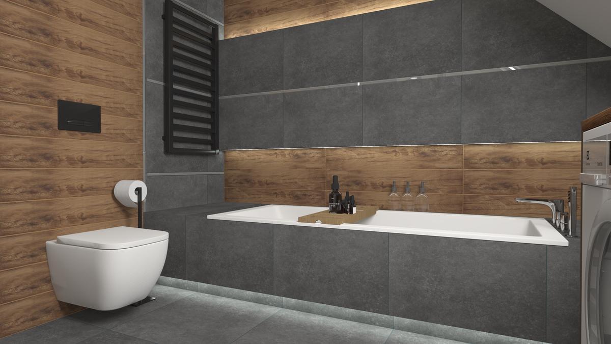 Ciemnoszara łazienka z drewnem - zdjęcie od BLU salon łazienek Suwałki