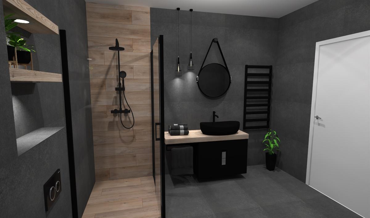 Ciemnoszare płytki w łazience - zdjęcie od BLU salon łazienek Bielsko-Biała