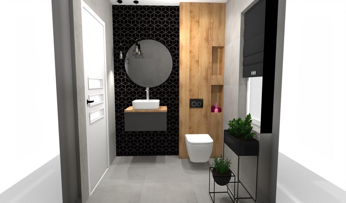 Czarna, dekoracyjna ściana w małej łazience - zdjęcie od BLU salon łazienek Bielsko-Biała