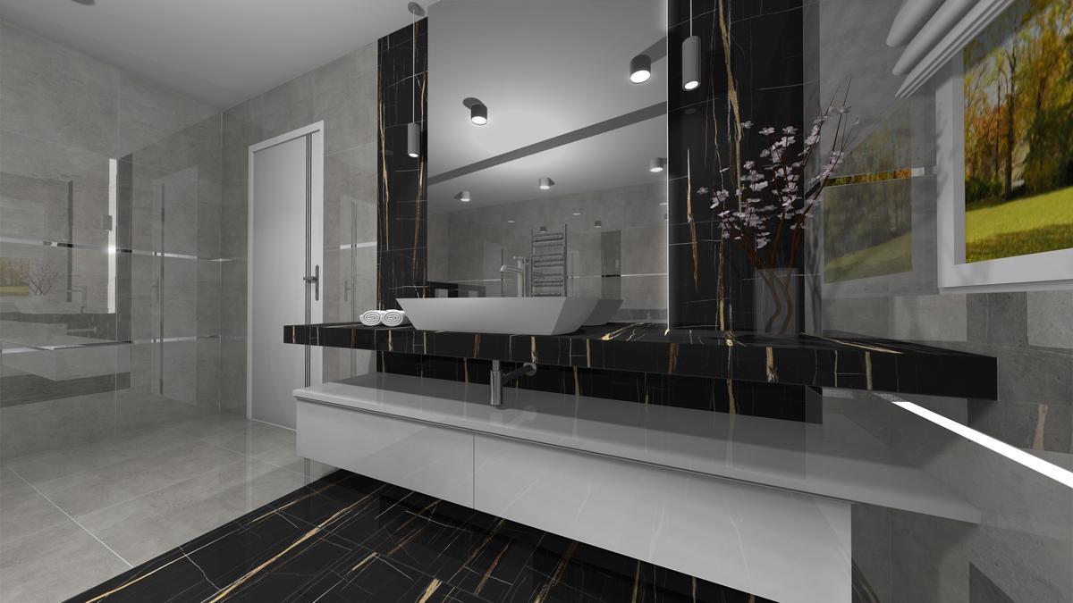 Czarne płytki w łazience - zdjęcie od BLU salon łazienek Krosno