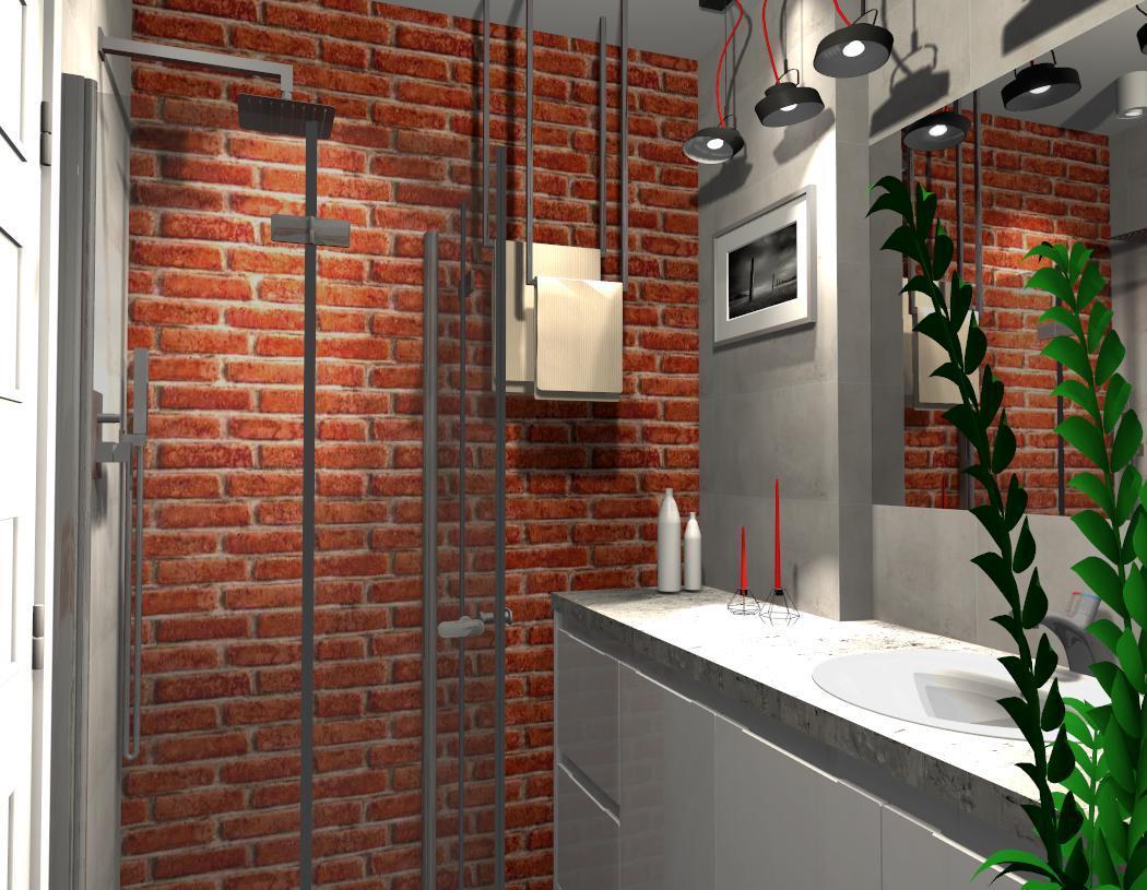 Czerwona cegła w łazience - zdjęcie od BLU salon łazienek Płońsk