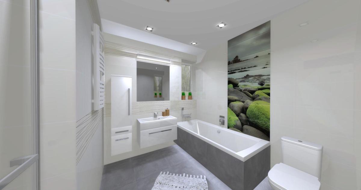 Dekor w białej łazience - Tubądzin Lemon stone, Tubądzin Abisso - zdjęcie od BLU salon łazienek Dębica