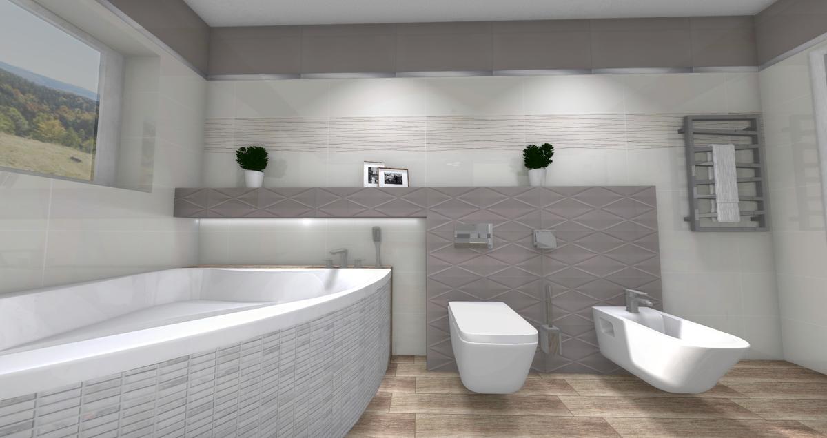 Delikatne biele i szarości - Tubądzin Abisso - zdjęcie od BLU salon łazienek Dębica