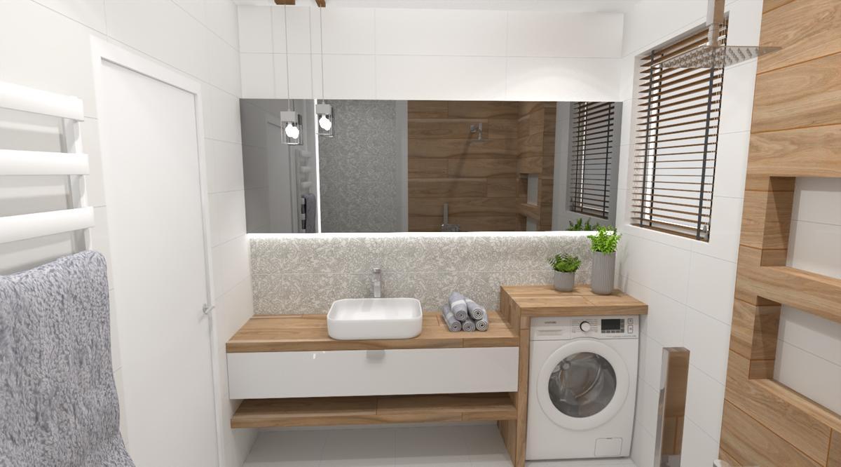 Drewno i dekory w małej łazience - zdjęcie od BLU salon łazienek Bielsko-Biała