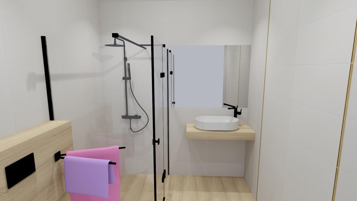 Drewno, jasne fakturowane i gładkie płytki w łazience - zdjęcie od BLU salon łazienek Chełm
