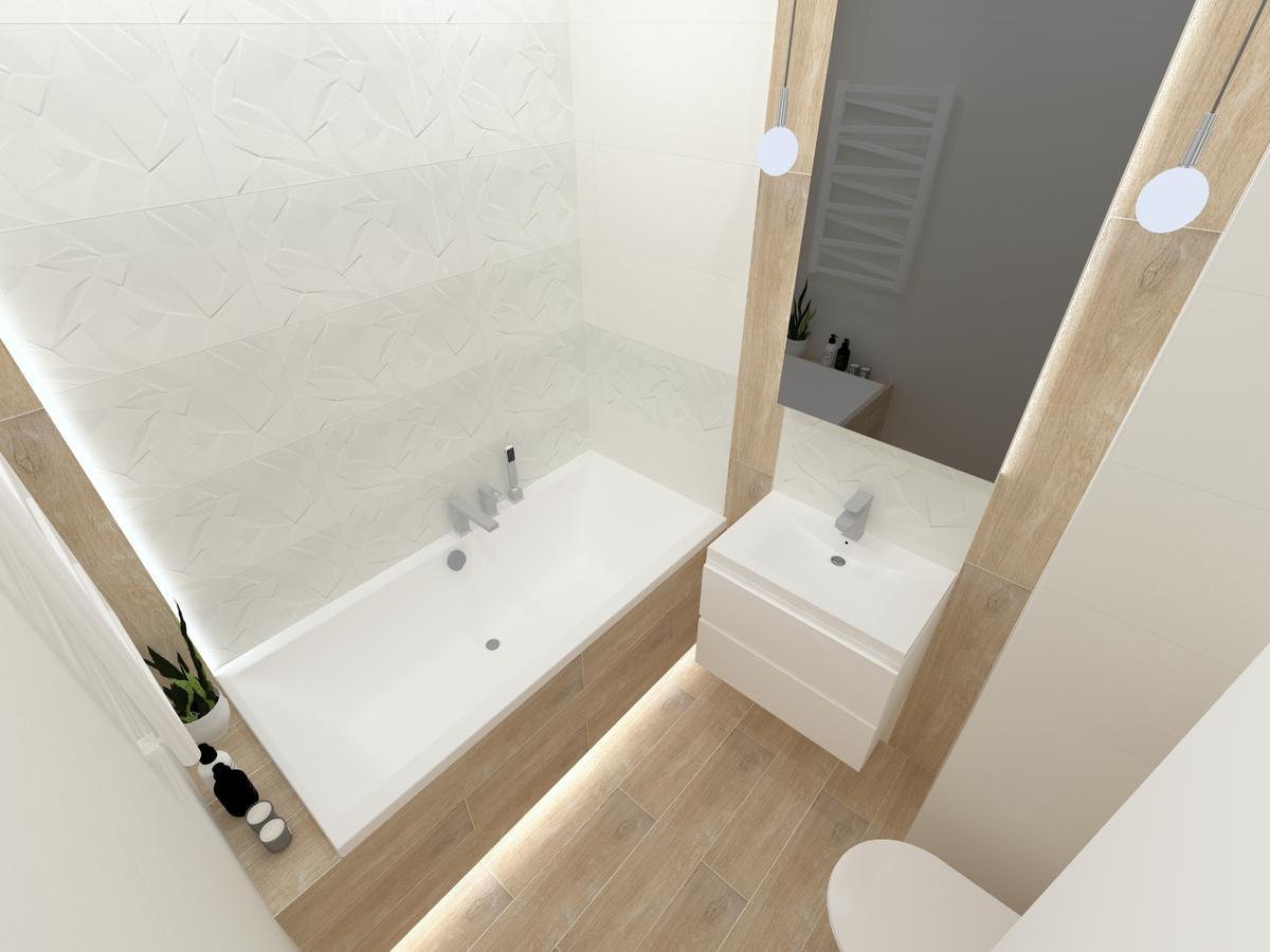 Drewno z bielą w kawalerce - zdjęcie od BLU salon łazienek Inowrocław
